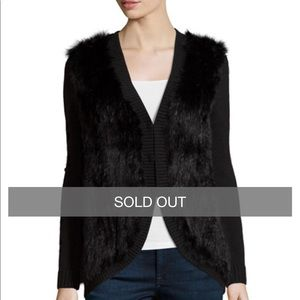 NWT Joie black rabbit fur sweater